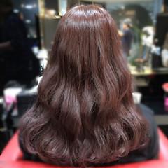ピンク ピンクブラウン 波ウェーブ セミロング ヘアスタイルや髪型の写真・画像