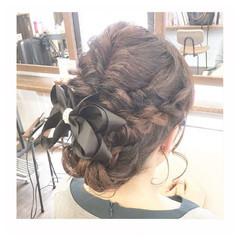 上品 女子会 結婚式 編み込み ヘアスタイルや髪型の写真・画像