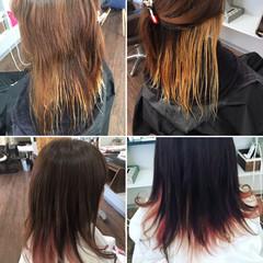 インナーカラー インナーピンク ブリーチカラー ロング ヘアスタイルや髪型の写真・画像