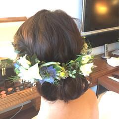 結婚式 波ウェーブ ブライダル ヘアアレンジ ヘアスタイルや髪型の写真・画像