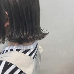 グレージュ ボブ アッシュ ワンレングス ヘアスタイルや髪型の写真・画像