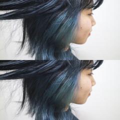 切りっぱなし こなれ感 インナーカラー 外ハネ ヘアスタイルや髪型の写真・画像