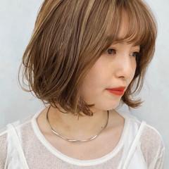 シースルーバング オレンジブラウン ベージュ ブラウンベージュ ヘアスタイルや髪型の写真・画像