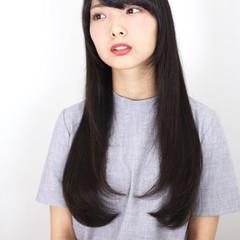 黒髪 ストレート ワンカール ロング ヘアスタイルや髪型の写真・画像