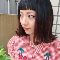 ミディアム 切りっぱなし ハイライト ピンク ヘアスタイルや髪型の写真・画像