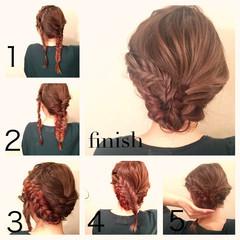 セミロング セルフヘアアレンジ ヘアアレンジ 簡単ヘアアレンジ ヘアスタイルや髪型の写真・画像