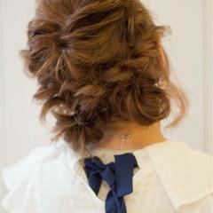 夏 お団子 愛され 編み込み ヘアスタイルや髪型の写真・画像