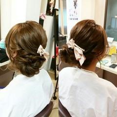 ショート セミロング フェミニン 簡単ヘアアレンジ ヘアスタイルや髪型の写真・画像