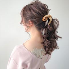 ラベンダーピンク ポニーテール ヘアアレンジ ショコラブラウン ヘアスタイルや髪型の写真・画像