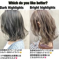 ストリート ミディアム グラデーションカラー ハイライト ヘアスタイルや髪型の写真・画像