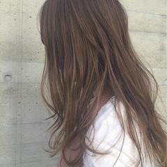 ナチュラル グレージュ セミロング ハイライト ヘアスタイルや髪型の写真・画像