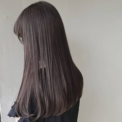 グレージュ イルミナカラー アッシュ セミロング ヘアスタイルや髪型の写真・画像