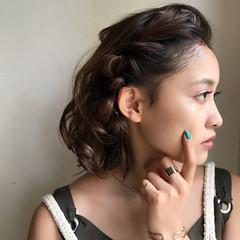 ボブ 大人女子 黒髪 簡単ヘアアレンジ ヘアスタイルや髪型の写真・画像