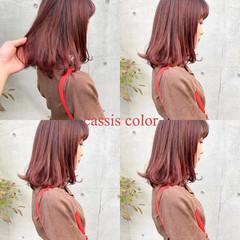 ブリーチ オレンジ ストリート ミディアム ヘアスタイルや髪型の写真・画像
