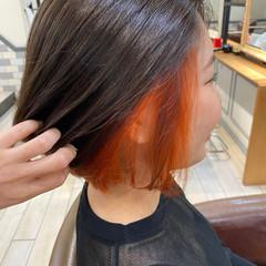 ハイトーン ブラットオレンジ ショートボブ ボブ ヘアスタイルや髪型の写真・画像
