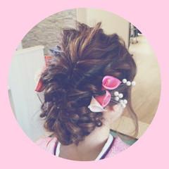 和装 ヘアアレンジ 編み込み ロング ヘアスタイルや髪型の写真・画像
