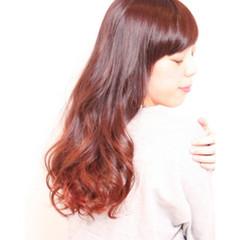 3Dカラー マルサラ ストリート グラデーションカラー ヘアスタイルや髪型の写真・画像