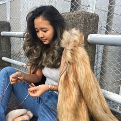 セミロング アッシュ ストリート グラデーションカラー ヘアスタイルや髪型の写真・画像