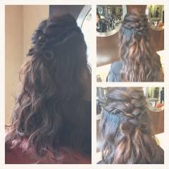 ロング 結婚式 アップスタイル 波ウェーブ ヘアスタイルや髪型の写真・画像