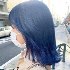 ブルーバイオレット ミディアム ニュアンスウルフ ナチュラル ヘアスタイルや髪型の写真・画像