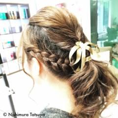 編み込み ヘアアレンジ ロング コンサバ ヘアスタイルや髪型の写真・画像