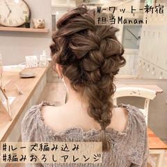 ヘアアレンジ 編みおろし ヘアセット ミディアム ヘアスタイルや髪型の写真・画像