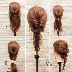 ミディアム 編み込み ヘアアレンジ 簡単ヘアアレンジ ヘアスタイルや髪型の写真・画像