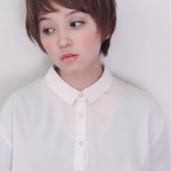 小顔 ガーリー ショートバング 似合わせ ヘアスタイルや髪型の写真・画像