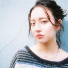 ヘアアレンジ 外国人風 ハーフアップ ミディアム ヘアスタイルや髪型の写真・画像