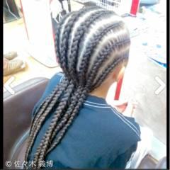 黒髪 編み込み ストリート コーンロウ ヘアスタイルや髪型の写真・画像