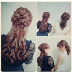 結婚式 ロング ナチュラル かわいい ヘアスタイルや髪型の写真・画像