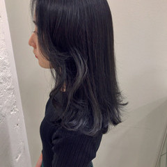 モード ミディアム ブルーアッシュ ブルー ヘアスタイルや髪型の写真・画像