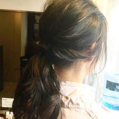 ポニーテール 簡単ヘアアレンジ セミロング ヘアアレンジ ヘアスタイルや髪型の写真・画像