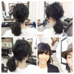 アップスタイル ヘアアレンジ ルーズ ショート ヘアスタイルや髪型の写真・画像
