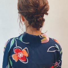 ヘアアレンジ 花火大会 ボブ ガーリー ヘアスタイルや髪型の写真・画像