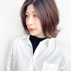 ツヤ髪 透明感カラー ミディアム ナチュラル ヘアスタイルや髪型の写真・画像