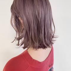 ラベンダー ピンクベージュ ナチュラル ボブ ヘアスタイルや髪型の写真・画像