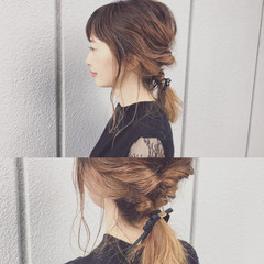 ショート グラデーションカラー 簡単ヘアアレンジ ミディアム ヘアスタイルや髪型の写真・画像
