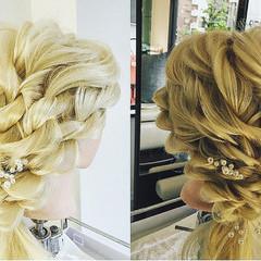 編み込み 外国人風 ツイスト 結婚式 ヘアスタイルや髪型の写真・画像