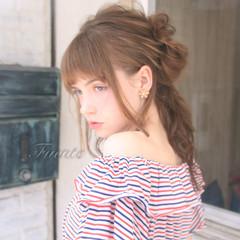 お団子 フェミニン デート ショート ヘアスタイルや髪型の写真・画像