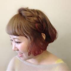 ナチュラル 編み込み ヘアアレンジ ストリート ヘアスタイルや髪型の写真・画像