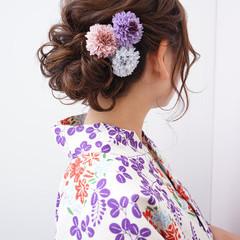 簡単ヘアアレンジ ナチュラル 着物 セミロング ヘアスタイルや髪型の写真・画像