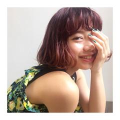 ピンク ピュア ガーリー 前髪あり ヘアスタイルや髪型の写真・画像