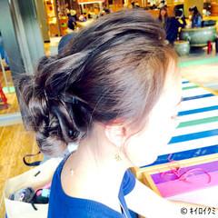 きれいめ セミロング アッシュ くるりんぱ ヘアスタイルや髪型の写真・画像