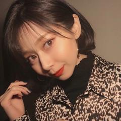 ボブ 韓国ヘア ナチュラル コリアンネイビー ヘアスタイルや髪型の写真・画像
