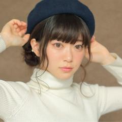 ロング 大人女子 ベレー帽 ヘアアレンジ ヘアスタイルや髪型の写真・画像