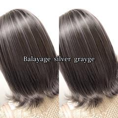 ミディアム ストリート シルバー ヘアカラー ヘアスタイルや髪型の写真・画像
