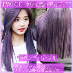 ラベンダーアッシュ ラベンダー 韓国ヘア ヨシンモリ ヘアスタイルや髪型の写真・画像