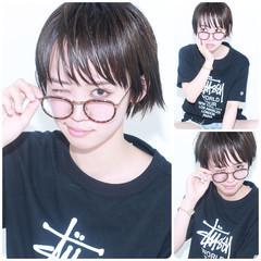 ウェットヘア 黒髪 ナチュラル ショート ヘアスタイルや髪型の写真・画像