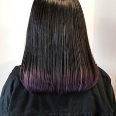 ラベンダー パープルカラー ラベンダーカラー セミロング ヘアスタイルや髪型の写真・画像